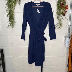 Loft Plus Solid Navy Blue LS Wrap Dress NWT SZ 22